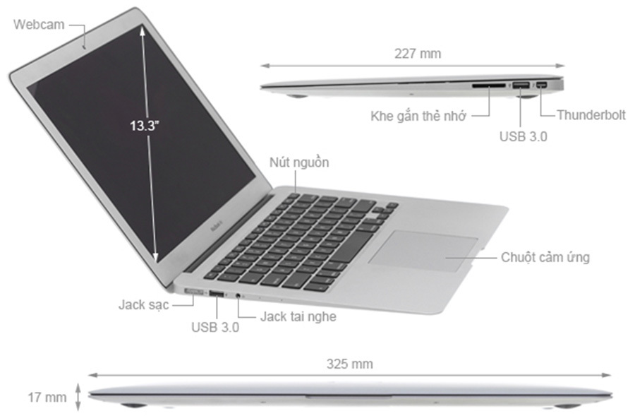 Macbook Air 13.3 (2017) i5 1.8GHz/8GB/256GB Mới 97%