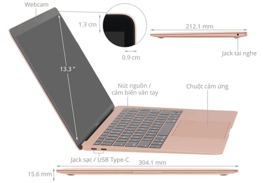 Macbook Air 13.3 (2018) i5 1.6GHz/8GB/256GB Cũ 99%